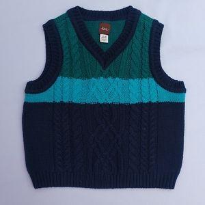Tea Collection cable knit teal/blue vest 12-18m